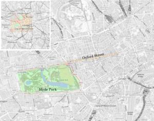 Karte von London, schwarz-weiß. Farblich markiert Hyde Park und Oxford Street.