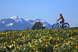 Pedelec mit Fahrerin vor den Chiemgauer Alpen