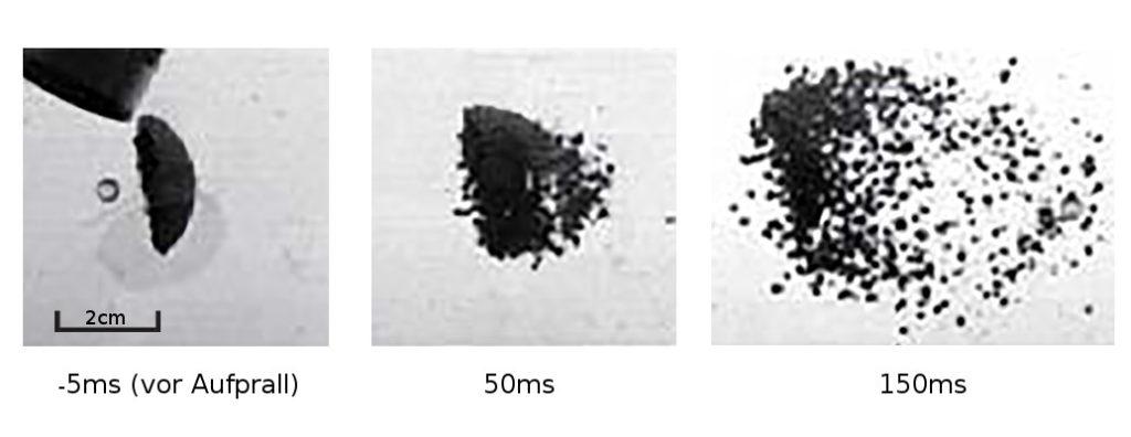 Ein Projektil kollidiert mit Staub