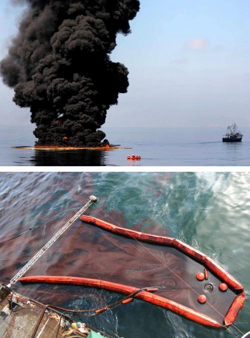 """Bekämpfung der """"Deepwater Horizon""""-Ölpest durch Verbrennung (oben) und Absaugen (unten)"""