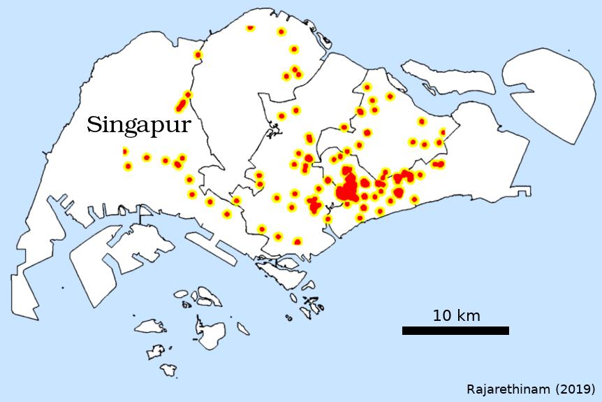 Karte von Singapur mit Zikafällen (2016). Das Ausgangsbiet ist der rote Fleck mittig rechts.