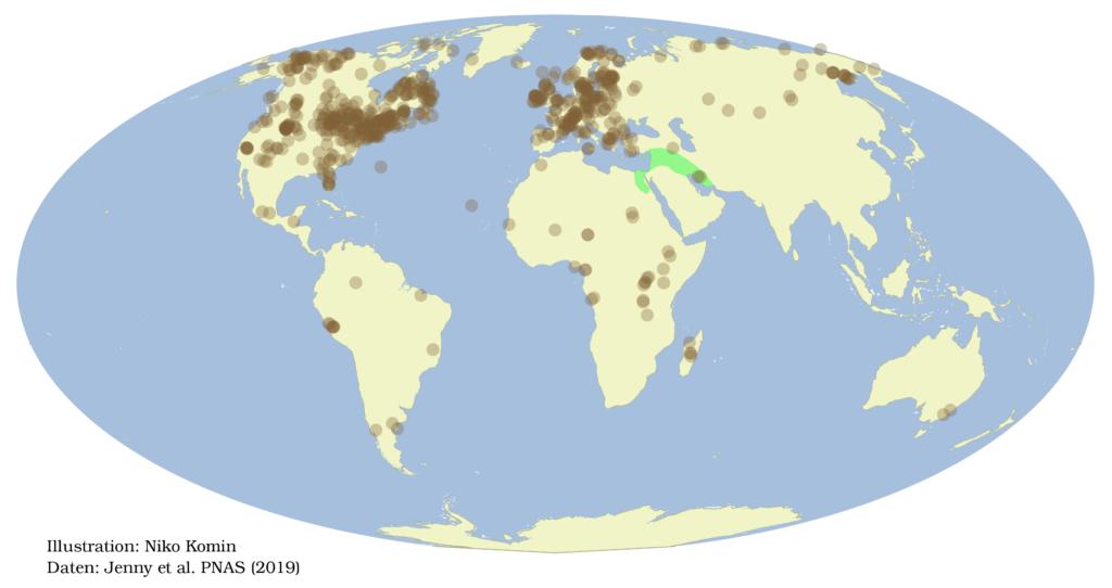 Karte der Herkunft der Bohrkernen. Ungleichmäßig über die Erde verteilt, verraten sie die Bodenerosion vor allem in Nordamerika und in Europa.