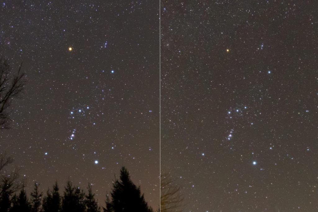 Die Helligkeit von Beteigeuze im Orion fiel Anfang 2020 mehr als gewöhnlich ab.