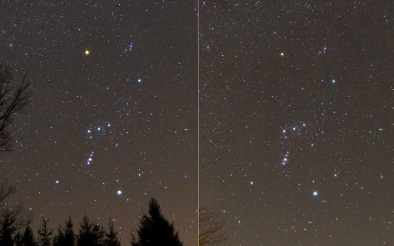 Zwei Aufnahmen des Sternbildes Orion. Im Februar 2012 (links) leuchtete der rote Schulterstern wesentlich heller als am 21.2.2020 (rechts).