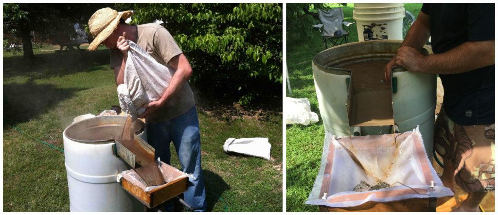 Flotationstanks zum filtern von Resten pflanzlicher Nahrung und von Holzkohle aus Ausgrabungsmaterial.