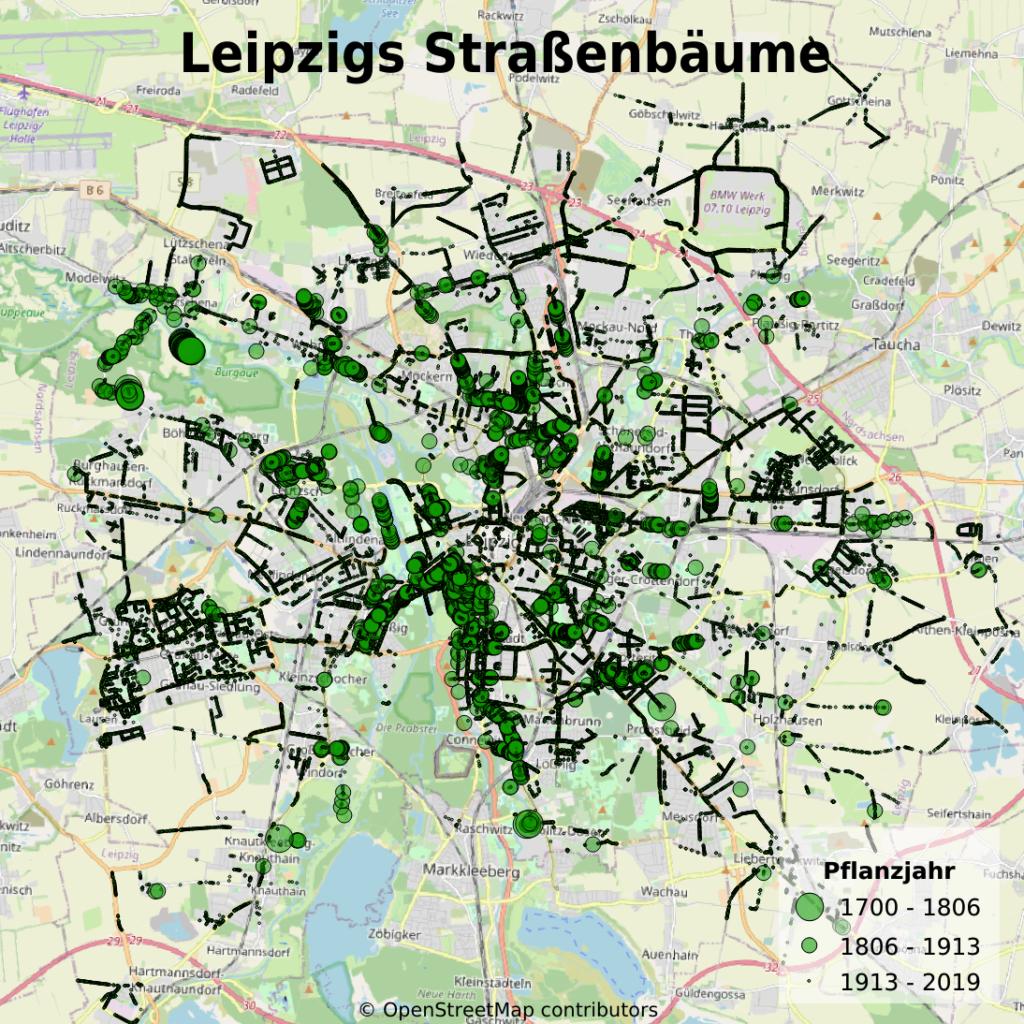 Karte von Leipzig mit allen Straßenbäumen.