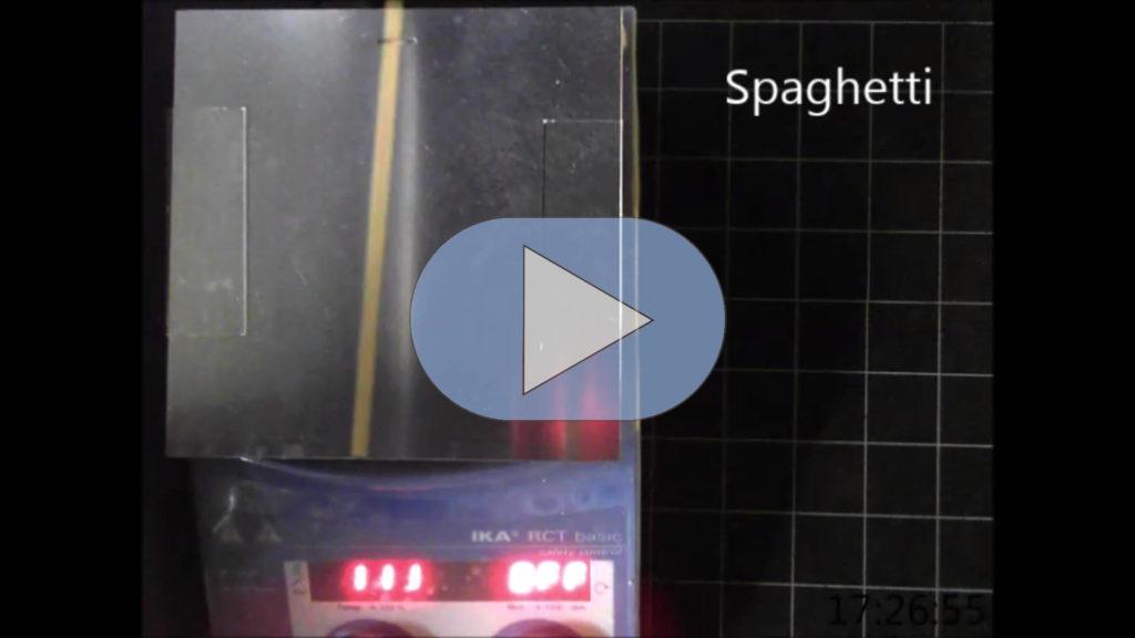 Screenshot aus Video zeigt  die warme Metallplatte auf der eine Spaghetti liegt. Unten rot leuchtende Zahlen.