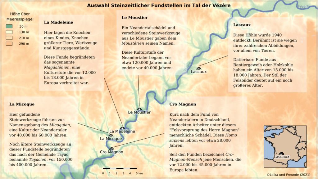 """Karte steinzeitlicher Fundstellen im Tal der Vézère, etwa 50km x 30km. Farben markieren die Höhe über dem Meeresspiegel. Der Fluss Vézère mäandert von rechts oben nach links unten durchs Bild. Das Tal auf etwa 50 Metern ist in die 200 bis 300 Meter hohe Umgebung eingeschnitten. Direkt am Rand des Tales befinden sich die Fundstellen (von Süd nach Nord): 1. Cro Magnon. Kurz nach dem Fund von Neandertalern in Deutschland, entdeckten Arbeiter unter diesem """"Felsvorsprung des Herrn Magnon"""" menschliche Schädel. Diese Homo sapiens lebten vor etwa 28.000 Jahren. Seit den Funden bezeichnet Cro-Magnon-Mensch jene Menschen, die vor 12.000 bis 45.000 Jahren in Europa lebten. 2. La  Micoque. Hier gefundene Steinwerkzeuge führten zur Namensgebung des Micoquien, eine Kultur der Neandertaler vor 40.000 bis 60.000 Jahren. Noch ältere Steinwerkzeuge an dieser Fundstelle begründeten das nach der Gemeinde Tayac benannte """"Tayacien"""", vor 150.000 bis 400.000 Jahren. 3. La Madeleine. Hier lagen die Knochen eines Kindes, Knochen größerer Tiere, Werkzeuge und Kunstgegenstände.  Diese Funde begründeten das sogenannte """"Magdalénien"""", eine Kulturstufe die vor 12.000 bis 18.000 Jahren in Europa verbreitet war. 4. Le Moustier. Ein Neandertalschädel und verschiedene Steinwerkzeuge aus Le Moustier gaben dem """"Moustérien"""" seinen Namen. Diese Kulturstufe der Neandertaler begann vor etwa 120.000 Jahren und endete vor 40.000 Jahren. 5. Lascaux. Diese Höhle wurde 1940 entdeckt.  Berühmt ist sie wegen ihrer zahlreichen Abbildungen, vor allem von Tieren.  Datierbare Funde aus Rentiergeweih oder Holzkohle haben ein Alter von 15.000 bis 18.000 Jahren. Der Stil der Felsbilder deutet auf ein noch größeres Alter."""